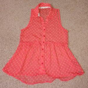 Roxy Coral Pink Sheer Sleeveless Babydoll Top